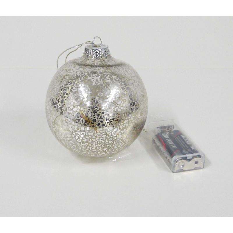 glaskugel 5 led leuchten warmwei batterie 10 cm 7 95. Black Bedroom Furniture Sets. Home Design Ideas